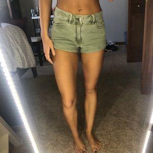 Olive Green Denim Hi-Rise Shorts